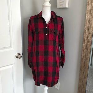 Gap Red & Black Checkered Long Sleeve Dress